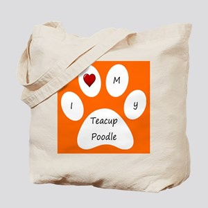 Orange I Love My Teacup Poodle Tote Bag