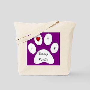 Purple I Love My Teacup Poodle Tote Bag
