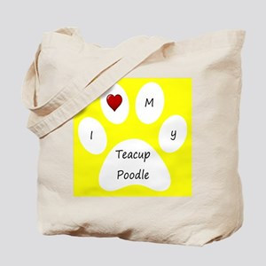 Yellow I Love My Teacup Poodle Tote Bag