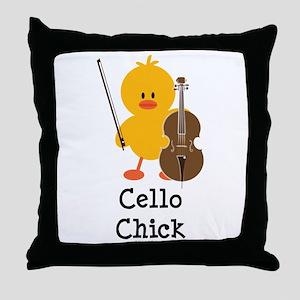Cello Chick Throw Pillow