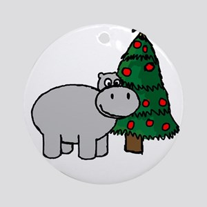 """""""I want a hippo for Christ"""" Ornament (Round)"""