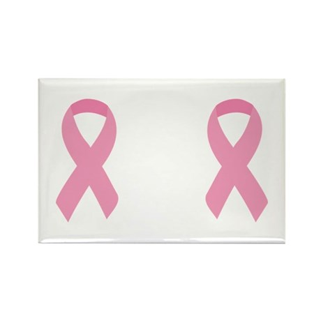 Two Pink Ribbons Rectangle Magnet (10 pack)