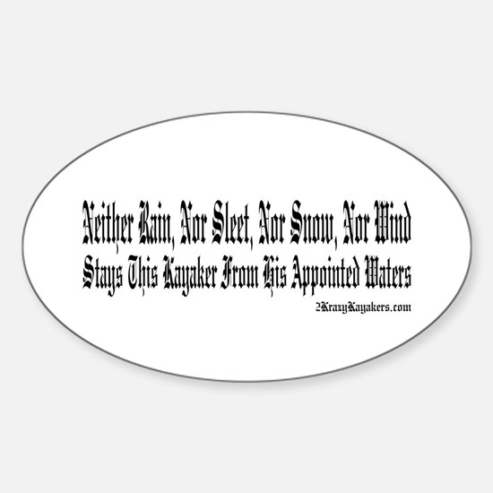 A Kayaker's Motto Oval Decal