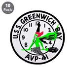 "USS Greenwich Bay (AVP 41) 3.5"" Button (10 pack)"
