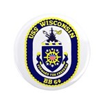 "USS Wisconsin (BB 64) 3.5"" Button (100 pack)"