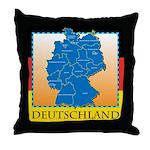 Deutschland German Map Throw Pillow
