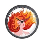 Anime Fire Elemental Art Wall Clock