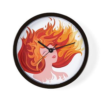 Anime Fire Elemental Art Wall Clock
