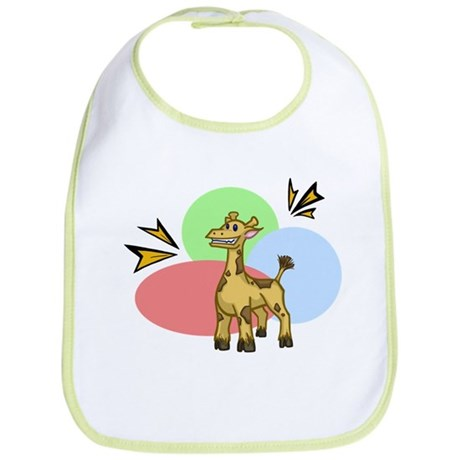 Spunky Giraffe Cartoon Art on a Bib