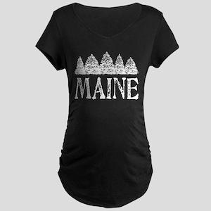 Maine Winter Evergreens Maternity Dark T-Shirt