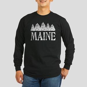 Maine Winter Evergreens Long Sleeve Dark T-Shirt