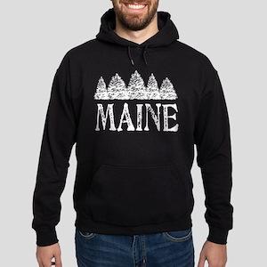 Maine Winter Evergreens Hoodie (dark)