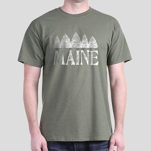 Maine Winter Evergreens Dark T-Shirt
