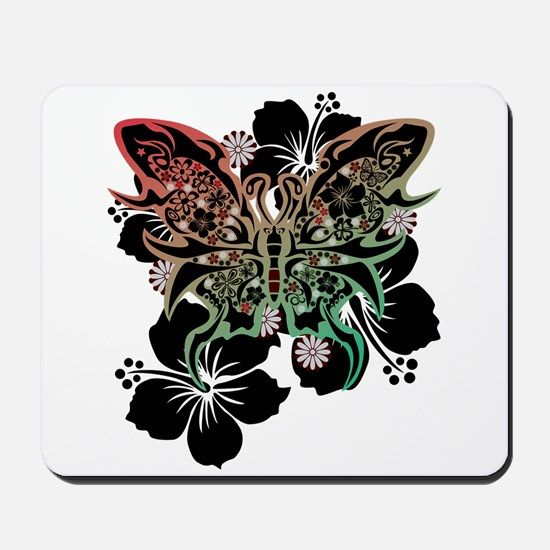 Hibiscus and butterfly Mousepad