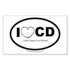 I love Cloth Diapering! Rectangle Sticker )