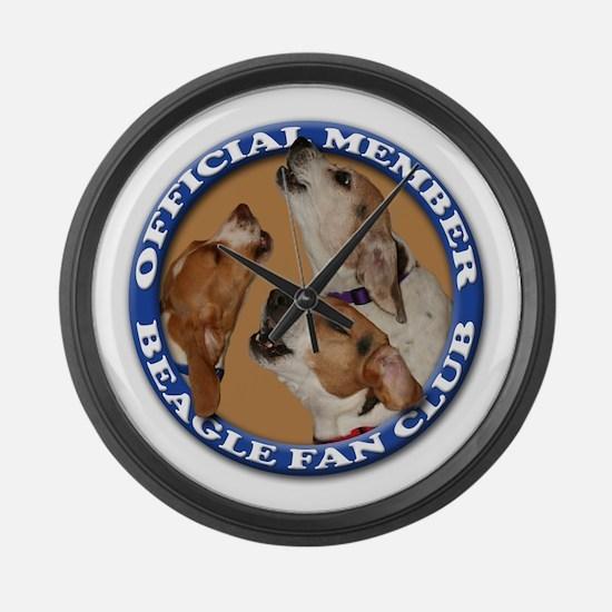 Beagle Fan Club (3) Large Wall Clock