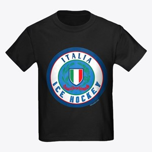 IT Italia Italy Ice Hockey Kids Dark T-Shirt
