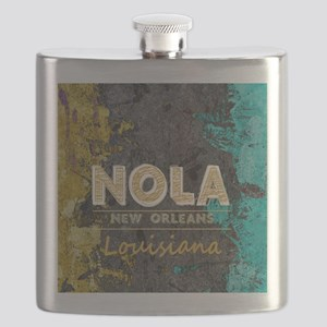 NOLA New Orleans Black Gold Turquoise Grunge Flask
