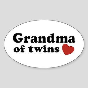 Grandma of Twins Oval Sticker