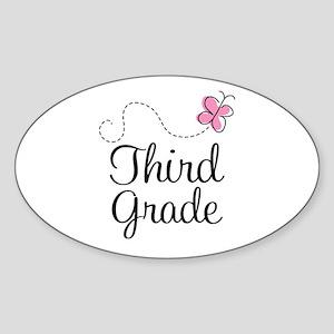 Cute 3rd Grade Oval Sticker