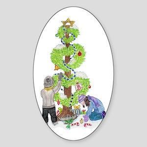 Holiday Love Tree Oval Sticker