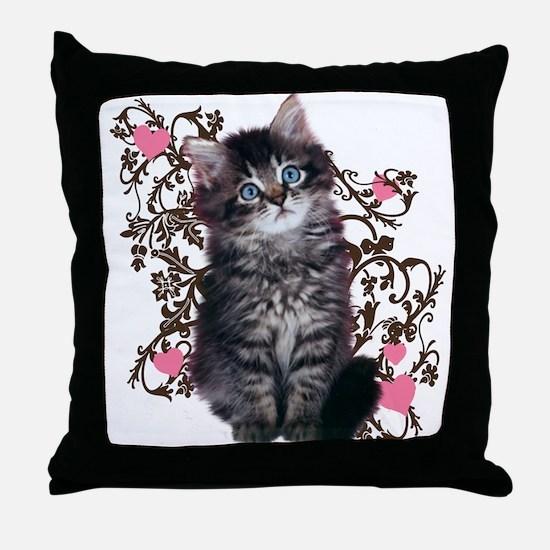 Cute Kitten Kitty Cat Lover Throw Pillow