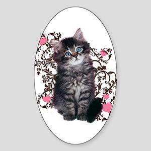 Cute Kitten Kitty Cat Lover Sticker (Oval)