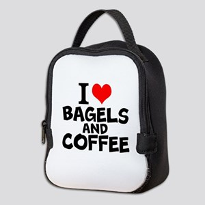 I Love Bagels And Coffee Neoprene Lunch Bag