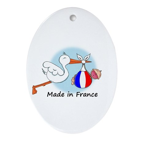 Stork Baby France Oval Ornament