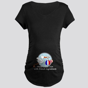 Stork Baby France USA Maternity Dark T-Shirt