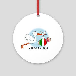 Stork Baby Italy Ornament (Round)