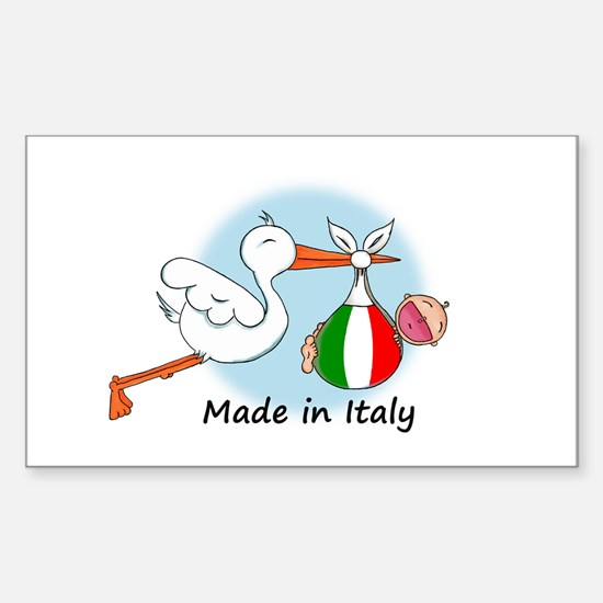 Stork Baby Italy Rectangle Decal