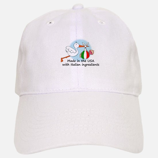 Stork Baby Italy USA Baseball Baseball Cap