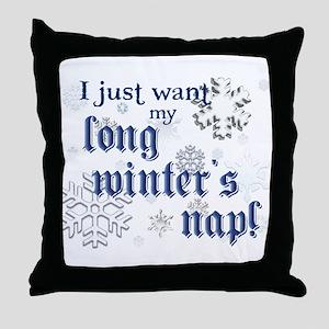 Winter's Nap (Blue) Throw Pillow