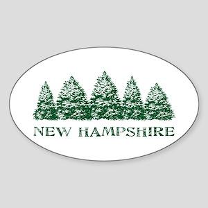 NH Winter Evergreens Oval Sticker