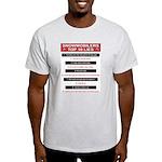 Snowmobilers Top Ten Lies Light T-Shirt