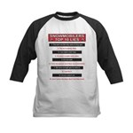 Snowmobilers Top Ten Lies Kids Baseball Jersey