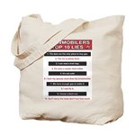 Snowmobilers Top Ten Lies Tote Bag
