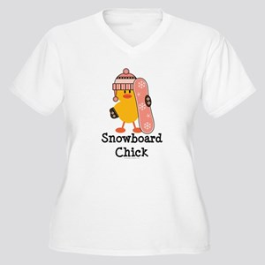 Snowboard Chick Women's Plus Size V-Neck T-Shirt