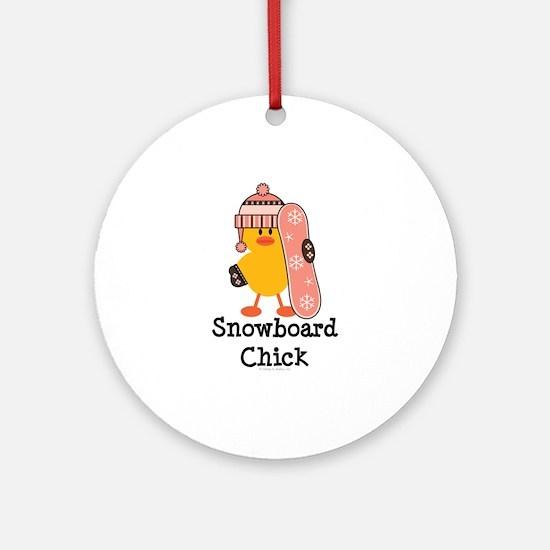 Snowboard Chick Ornament (Round)
