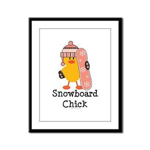 Snowboard Chick Framed Panel Print