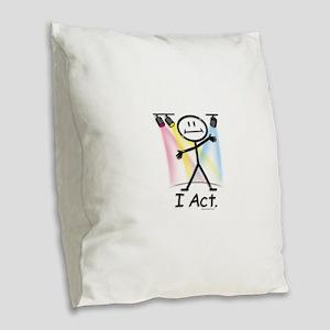 Actor Stick Figure Burlap Throw Pillow