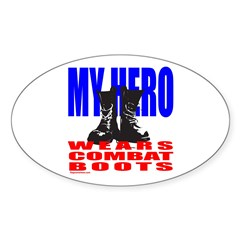 MY HERO WEARS COMBAT BOOTS Oval Decal
