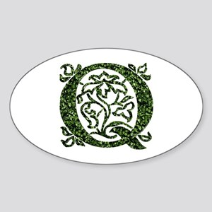 Ivy Leaf Monogram Q Oval Sticker
