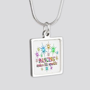 Dancing Sparkles Silver Square Necklace