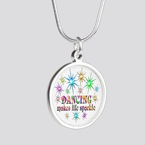 Dancing Sparkles Silver Round Necklace