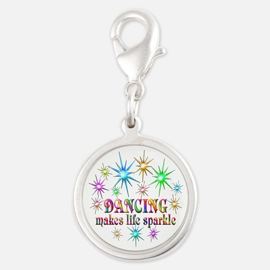 Dancing Sparkles Silver Round Charm