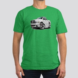 Dodge Ram White Dual Cab Men's Fitted T-Shirt (dar