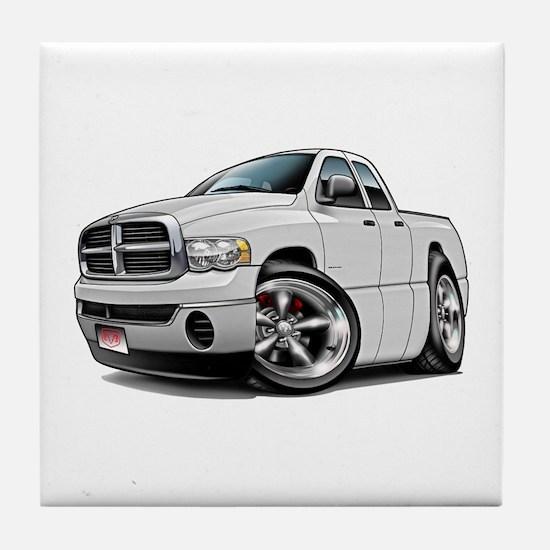 Dodge Ram White Dual Cab Tile Coaster