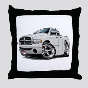 Dodge Ram White Dual Cab Throw Pillow